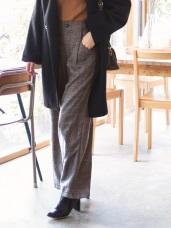英倫細格紋高腰俐落寬版褲