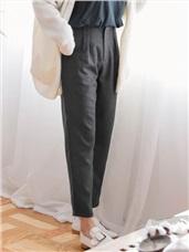 磨毛純色側邊打褶俐落寬版褲