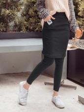 豎壓紋布標造型包臀中長內搭褲裙