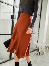 荷葉造型剪裁前開衩中長裙