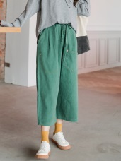 高含棉抽繩腰鬆緊口袋造型寬褲