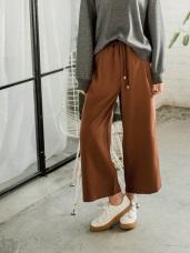 純色腰圍長抽繩造型垂墜感闊腿褲