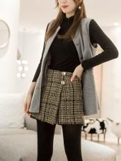 花紋毛料布格紋釦造型褲裙
