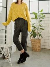混色調附綁帶造型寬鬆闊腿褲