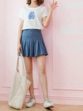 糖果色鬆緊腰頭百褶短褲裙