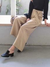 高腰垂墜感蝴蝶結附腰帶闊腿厚質寬褲