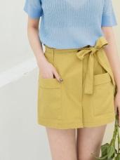 高含棉附綁帶後鬆緊口袋設計褲裙