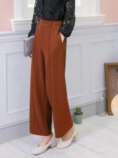 彈力純色車線厚質暖感直筒寬褲
