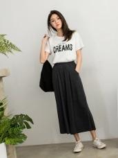 全鬆緊腰頭純色垂墜感寬版七分褲裙