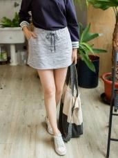 高含棉混色調印花窄管A字低腰短版褲裙