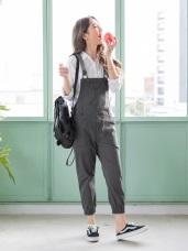 高含棉修身口袋造型皮革吊帶縮口褲