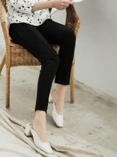 立體中線腰鬆緊棉質窄管褲