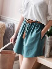 純色排釦造型腰圍鬆緊附大環皮帶褲裙