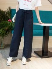 純色高質感垂墜附腰圍綁帶寬版褲