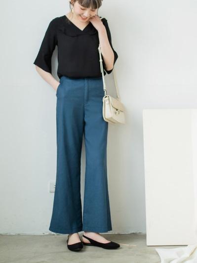 質感純色寬褲