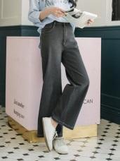 質感率性多搭車縫口袋高含棉牛仔寬褲