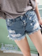 高含棉排釦破洞感抽鬚牛仔丹寧短褲