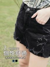 抽鬚抓破設計假兩件高含棉牛仔短褲裙