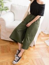 高含棉撞色直條紋腰圍寬版闊腿褲