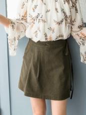 沉穩色調打褶造型側蝴蝶結褲裙