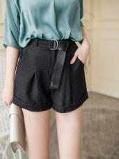 柔滑純色附環綁帶打褶設計短褲