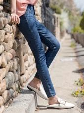 竹節布紋彈力牛仔窄管褲