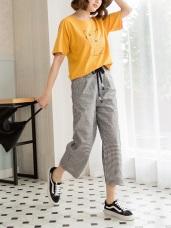 高含棉英倫格紋配色綁帶寬版七分褲