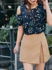 開衩設計質感純色假兩件短褲裙