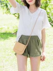 抽鬚滾邊設計高含棉純色短褲