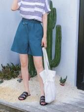 高含棉腰圍鬆緊口袋造型休閒及膝褲