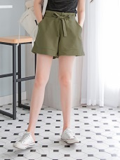 腰前蝴蝶結綁帶高含棉純色短褲