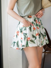 飄逸清新花朵印涼感褲裙