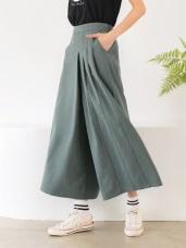 高含棉打褶設計素面寬版闊腿褲