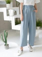 高含棉碧青色調附綁帶打褶腰圍落地寬褲