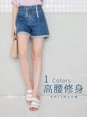 帥性高含棉大口袋造型反褶牛仔丹寧褲