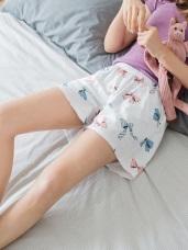 蝴蝶結滿版燙印高含棉成套居家短褲