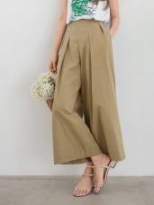 高含棉質感打褶設計休閒寬版褲