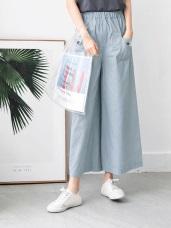 高含棉腰圍鬆緊口袋造型寬版褲