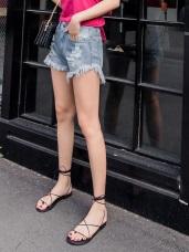 性感時髦高含棉刷破抽鬚牛仔丹寧短褲