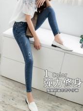 高含棉刷破感水洗牛仔褲