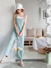 高含棉不易皺彈性素面吊帶寬褲