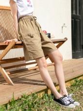 鬆緊綁帶造型口袋設計純色棉麻五分褲