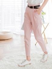 高棉質感純色打褶直筒褲