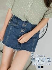 高含棉翻蓋排釦不收邊牛仔丹寧高腰短褲