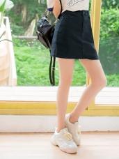 高含棉彈性A字素色褲裙