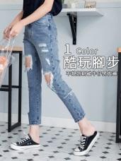 高含棉率性刷色破損感牛仔丹寧褲