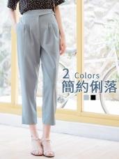 純色腰帶造型下襬開衩後腰鬆緊打褶直筒褲