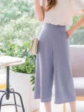 雙口袋設計純色寬版八分褲