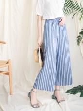 高含棉腰鬆緊藍白直條紋寬褲
