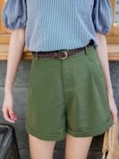 編織腰帶素面反褶短褲